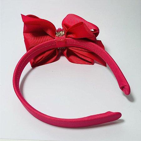 Tiara Laço com Brilhantes Rosa Pink