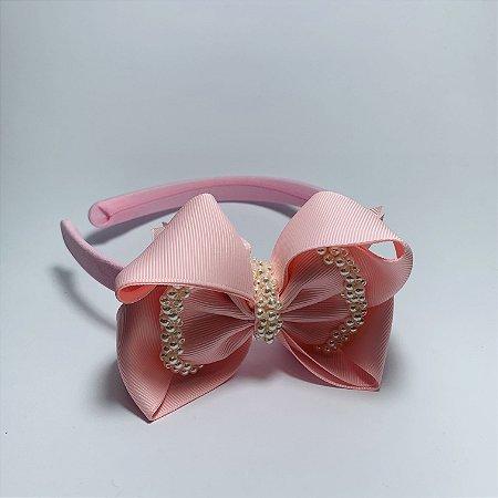 Tiara Laço de Cetim Perolada Rosa