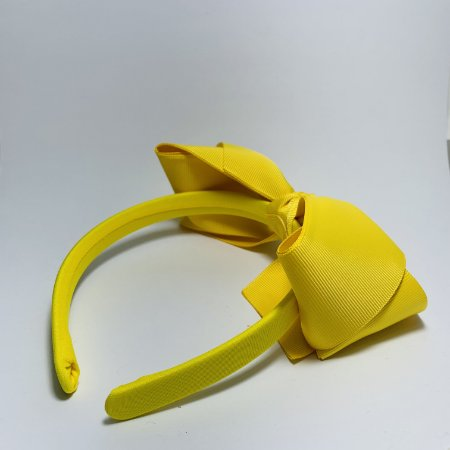 Tiara Laço de Cetim Amarelo Mostarda