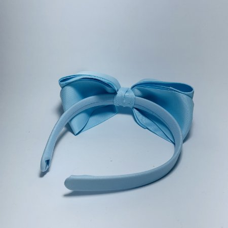 Tiara Laço de Cetim Azul Bebê