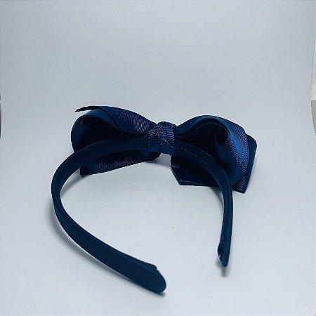 Tiara Laço de Cetim Azul Marinho