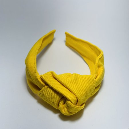 Tiara Nó Tecido Premium Amarela