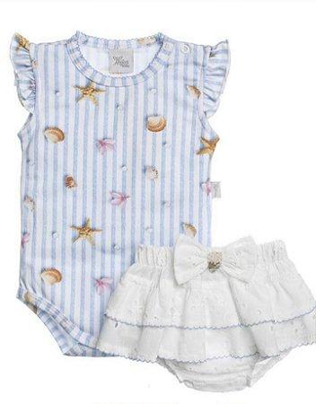 Body Curto Banho De Sol Em Cotton Estampado Conchinha E Short Em Laise Para Bebê