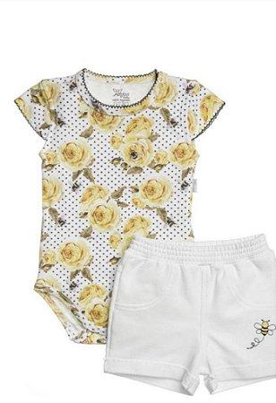 Body Curto Em Suedine Estampado Rosas Amarelas E Short Em Moletinho Bordado Amarelo