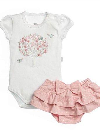 Body Curto Bordado Passarinhos Em Suedine E Short Em Cotton Estampado Póa Rosa Para Bebê- Anjos Baby