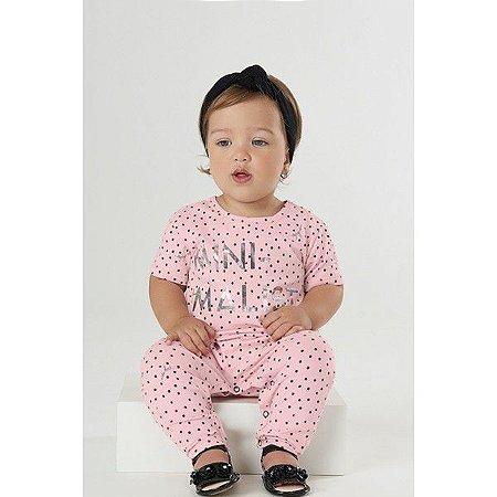 Macacão Faixa Cabelo Bebê Menina Minimalist Rosa - Up Baby