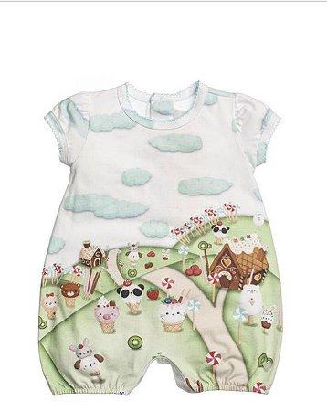 Macacão Curto Banho De Sol Em Cotton Estampado João E Maria Para Bebê - Anjos Baby
