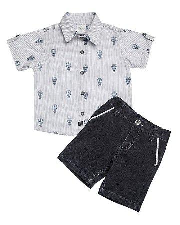 Conjunto Camisa Listrada Estampa Balãozinho E Bermuda - Anjos Baby