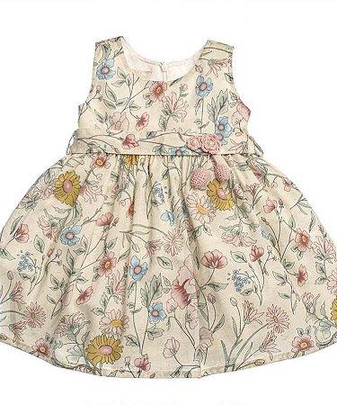 Vestido Estampado Naturais com Faixa  Flor de Crochê com Perola