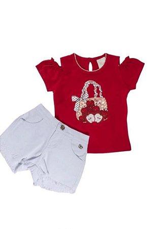 Conjunto para Bebê Blusinha em cotton e Short Branco Barra Desfiada Maças