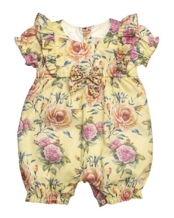 Macacão Curto Banho De Sol Estampado Tropical Rosas Para Bebê