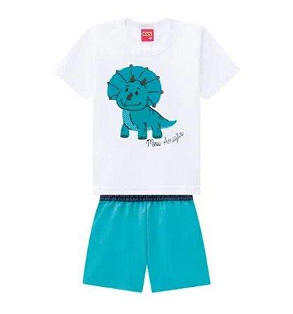 Conjunto Infantil Masculino Camiseta + Bermuda Kyly Dinossauro