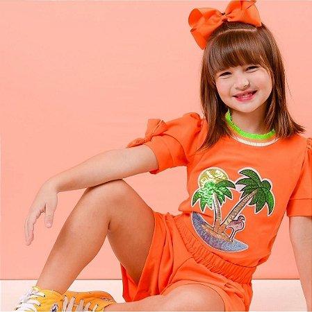 Conjunto laranja neon