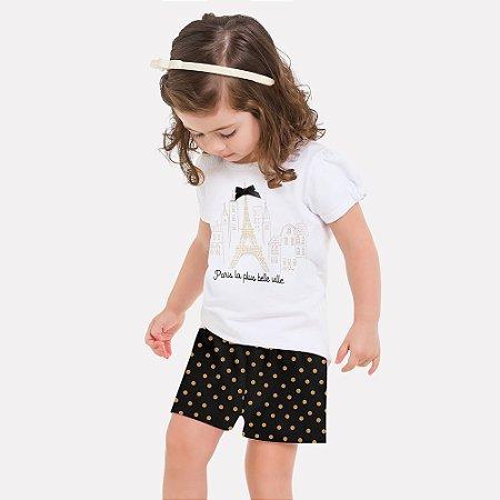 Conjunto Infantil Feminino Blusa e Short Milon