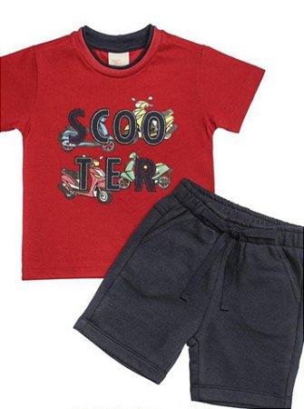 Conjunto Camiseta Bordada Scooter E Bermuda Em Moletom  - Anjos Baby