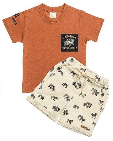 Conjunto Camiseta Bordada Savanna E Bermuda Em Moletom Estampado Zebrinha  - Anjos Baby