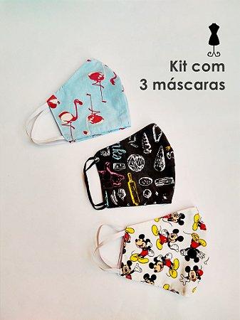 Kit 3 Máscaras de Tecido