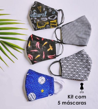 Kit 5 Máscaras de Tecido