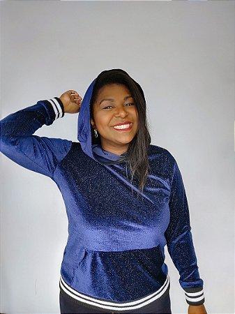 Blusa de Lurex Azul com Capuz G