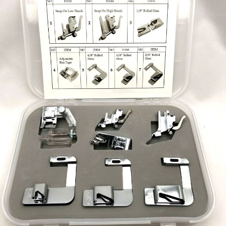 Conjunto kit de calcadores para fazer bainha,barra e pregas viés  -7 peças