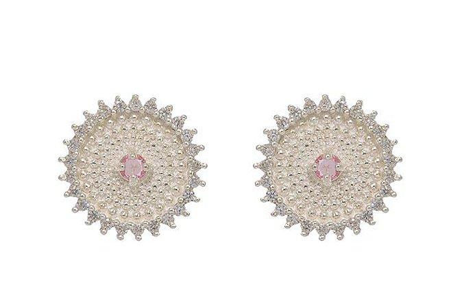 Brinco Prata Cristal Rosa