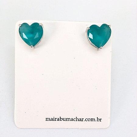 Brinco Coração 1,0 cm Cristal Azul