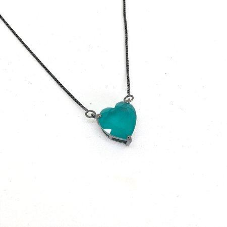 Colar Coração 1,0 cm Cristal Azul