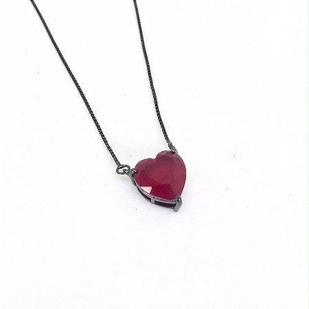 Colar Coração 1,0 cm Rubi