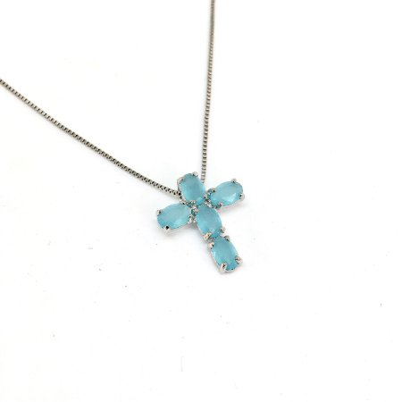 Colar Crucifixo Azul