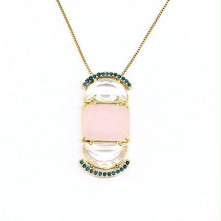 Colar Cristal Quartzo Rosa e Cristal