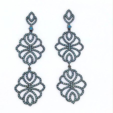 Brinco de Rodio Com Zirconias Azuis