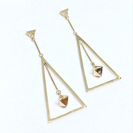 Brinco Triângulo e Pêndulo Ouro