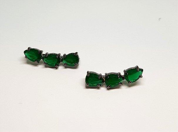 Earcuff 3 pedras esmeralda rodio negro