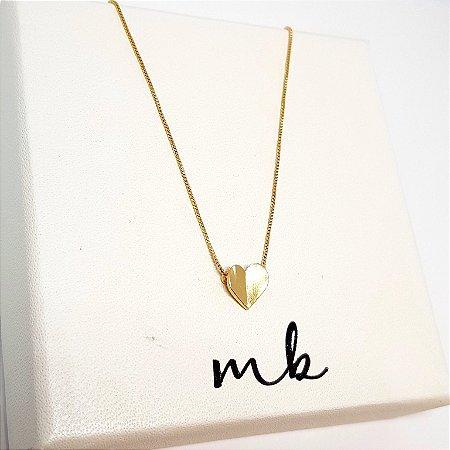 Colar coração dobrado ouro