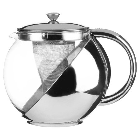 Bule Chaleira c/ Infusor em Vidro e Aço Inox 700 ml