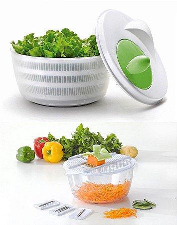 Kit Secadora de Salada Profissional + Processador 6 em 1