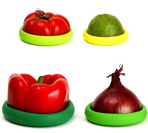 Kit 4 Tampas Universais Silicone para Potes e Alimentos