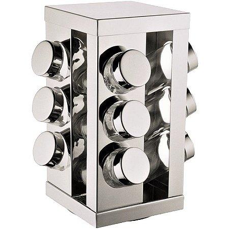 Kit 12 Porta Condimentos em Vidro e Inox c/ Base Giratória