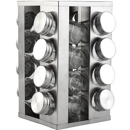 Kit 16 Porta Condimentos em Vidro e Inox c/ Base Giratória