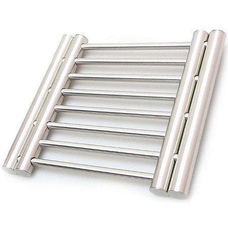 Descanso de Panelas Duplo Extensível Aço Inox 2 em 1