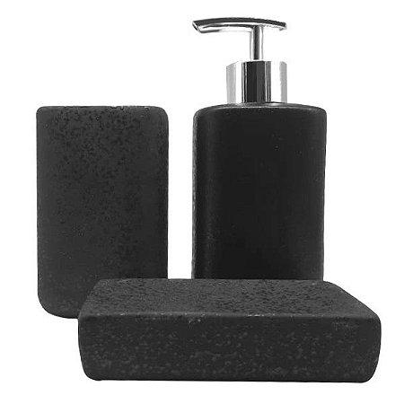 Jogo para Banheiro 3 Peças em Porcelana c/ Textura Preto