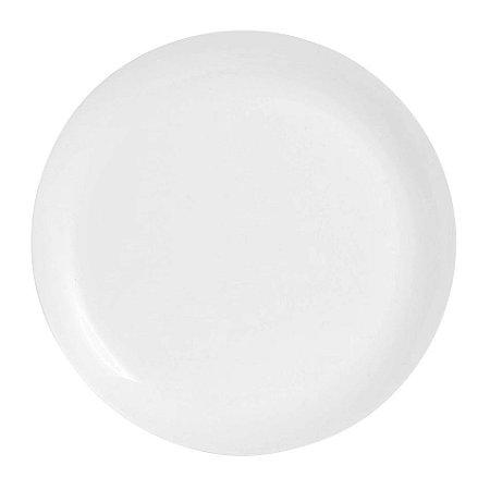 Prato Raso Branco em Vidro Temperado Super Resistente 25 cm