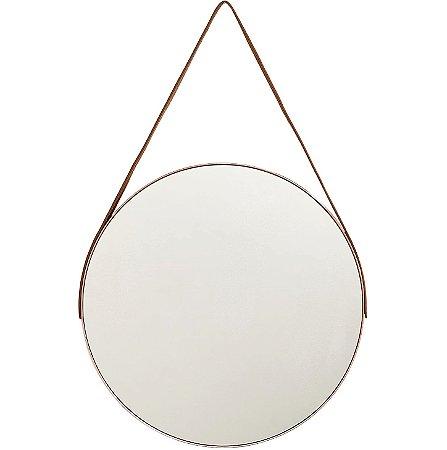 Espelho Redondo Adnet Grande 45cm Decorativo c/ Alça Suporte