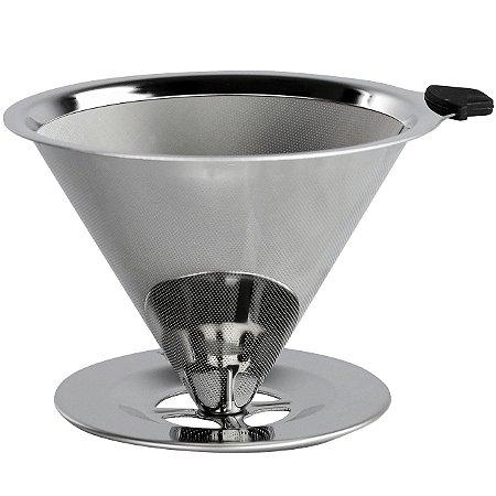 Filtro Coador p/ Café Reutilizável Inox Ultrafino Grande