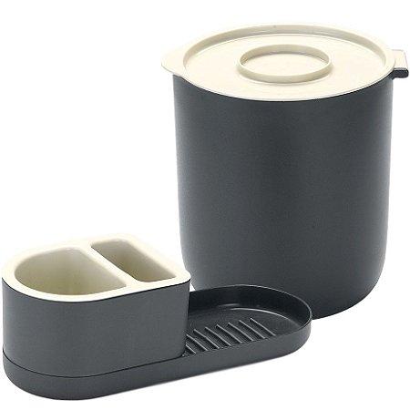 Kit Completo p/ Pia c/ Suporte Detergente e Lixeira 3,5 L