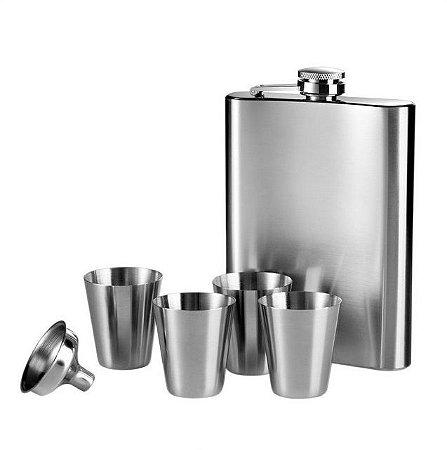 Kit Cantil Porta Bebida Inox 240 Ml + 4 Copos + Funil