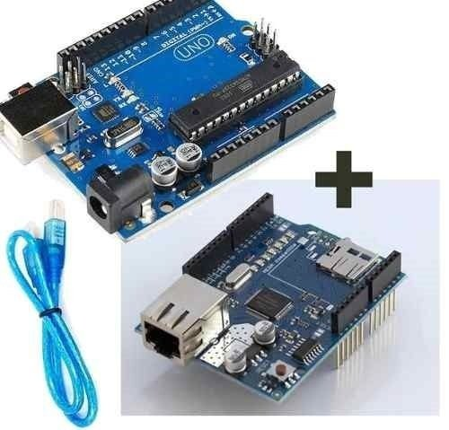 Kit Uno R3 com Cabo USB + Ethernet Shield W5100