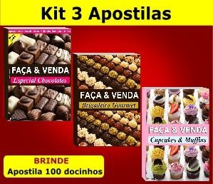 Kit 3 Apostilas Faça e Venda - Páscoa, Brigadeiros e Cupcakes
