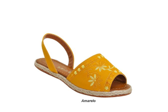 Sandália Avarca Becc Boo Amarelo e Bordada