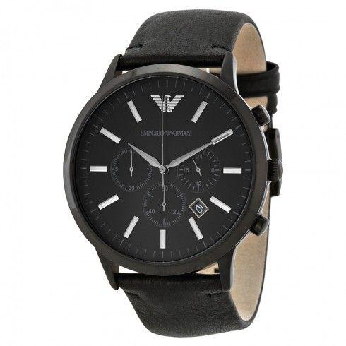 104a75b434f Relógio Emporio Armani Ar2461 Couro Preto - Dalu Importados
